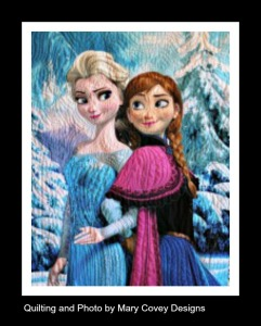 Preprinted panel of Elsa and Anna with borders trimmed off.